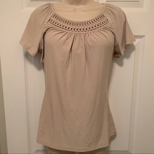 EUC The Limited Blouse Tan Small
